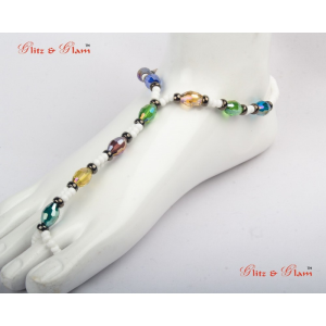 Anklets - Eclectic color beads, strung and held in place with milky white smaller beads