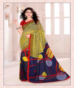 Bansi Vichitra Georgette Printed Multicolour Saree