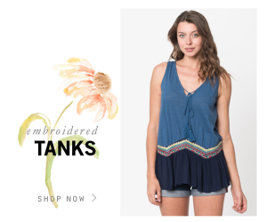 Sale on embroidered tank use code flowerpower and
