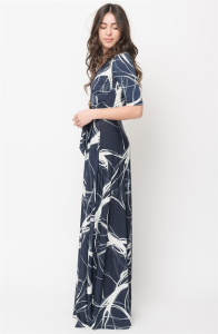 ABSTRACT PRINT WRAP MAXI DRESS