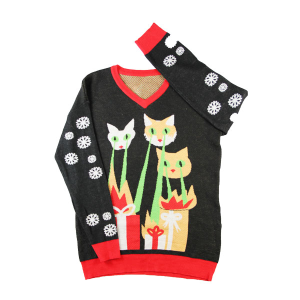 2015 Fall Christmas Gift Sweater Soft Acrylic Colorful Jacquard Snow Cat V-Neck Pullover