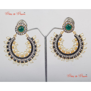 Earrings - Combination of emeralds and pearl
