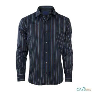 Blue On Black Striped Shirts