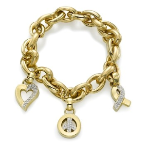 18k Yellow Gold Bracelet with Love Peace and Hope Charms