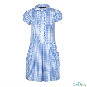 Cottage Weave Blue School Dress