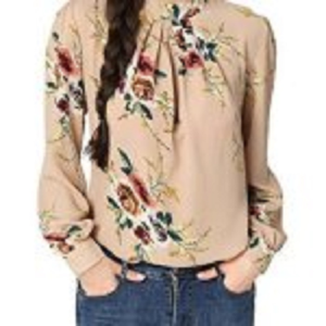 Abollria Women's Flower Print Long Sleeve Shirt