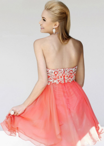 Coral Halter Neck Beaded Layered Short Prom Dress