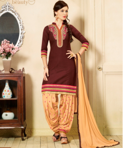 online shopping india - Coffee cream Semi Stitched Salwar Kameez With Dupatta