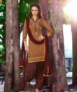 online shopping india - Coffee Patiala Semi Stitched Salwar Kameez