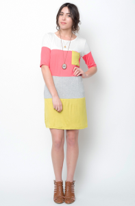 yellow color block tunic dress