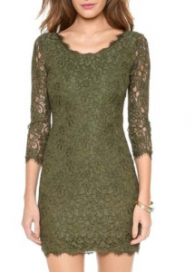 Exquisite Round Neck Green Lace Dress with Zipper