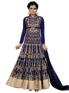 Stylish Blue Coloured Embroidered Semi-Stitched Georgette Salwar Suit