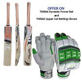 Thrax Dynamic Power English Willow Cricket bat and Thrax Upper Cut Batting Gloves Green