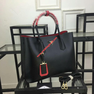 Prada 1BG775 Two-Tone Handles Saffiano Leather Tote In Black/Red