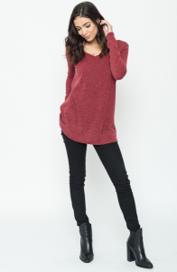 Buy Now V neck Back Ribbon Sweater Tunic (Final Sale) Online $24 -@caralase.com