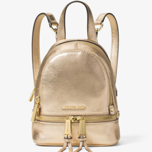 MICHAEL Michael Kors Rhea Extra-Small Leather Backpack Gold