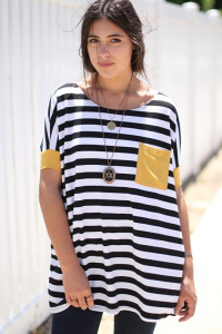 Print Striped Contrast Tunic