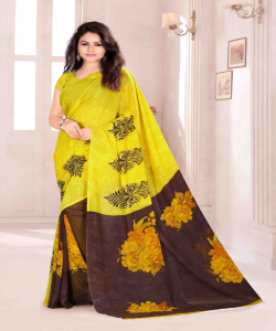 Bansi Vichitra Georgette Printed Yellow Saree