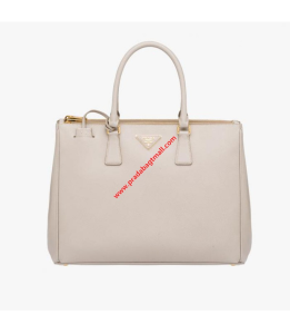 Prada 1BA786 Saffiano Leather Tote In Beige
