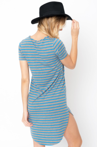 Blue Striped Curved Hem Tee Dress