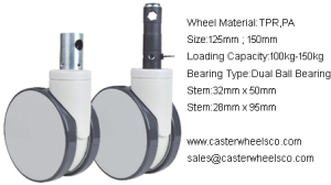 twin wheels central locking casters