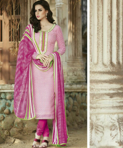 online shopping india - Bhagalpuri Silk Pink Semi Stitched Dress