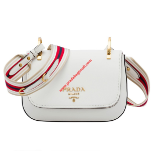 Prada 1BD110 Saffiano Leather Shoulder Bag In White
