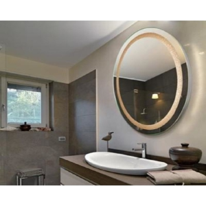 Orren Ellis Tiemeyer Crystal Oval Backlit LED Bathroom Mirror