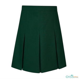 Deep Green Box Pleat Skirt
