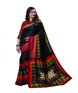 Black Pattu Silk Printed Saree - online shopping india