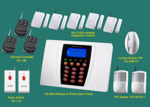 Complete Alarm Systems | Alarm panel +PIR +Door contact +smoke sensor | Home security systems | burg