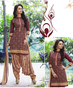 online shopping india - Magenta Cream Patiala Semi Stitched Salwar Kameez
