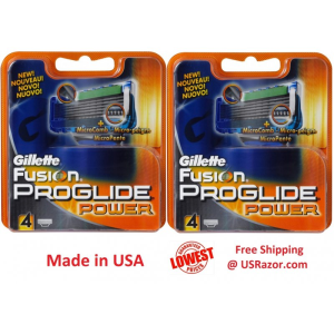 8 Gillette FUSION Proglide Power Refill Cartridges