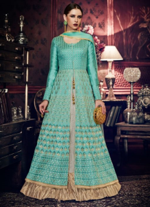 Aqua Blue Embroidered Anarkali Suit