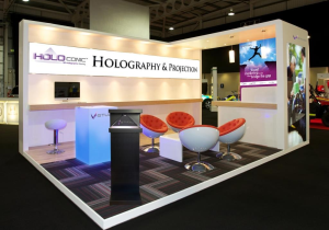 Hologram showcases for tradeshows Saudi Arabia by V-Studio
