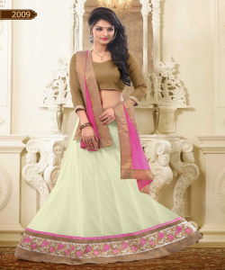 online shopping India - Designer Cream Lehenga Choli by Sunder Creation