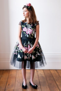 Black and Pink Rose Party Gown