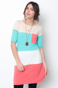 mint color block tunic dress