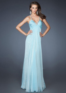 Long Aqua Two Beaded Silver Straps V-Cut Open Back
