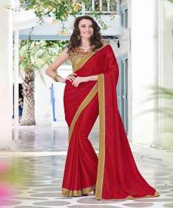 online shopping india - Mahotsav Designer Chiffon Red Saree