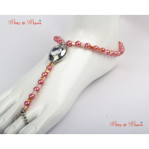 Fashion Anklets - Mirror finish foot thong anklet with pink Pearls.