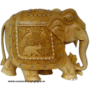 WOODEN ELEPHANT WITH INLAID AND SHIKAR CARVING