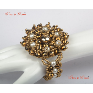 Fashion Bracelets - Brass antic finish with white pearls studded in between