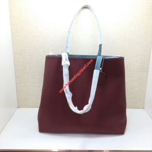 Hermes Double Sens Bag Clemence Leather In Burgundy