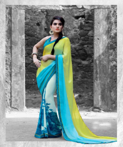 online shopping india - Designer Multicolor Printed Georgette Saree