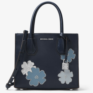 MICHAEL Michael Kors Mercer Floral Studded Leather Tote Navy Blue