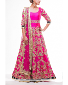 Buy Magenta Heavy Embroidered Bridal Anarkali Suit