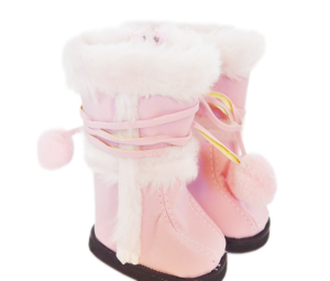American Girl Doll Shoes- Pink Seude Pom Boot