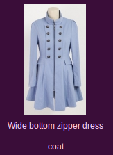 Wide bottom zipper dress coat