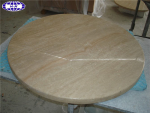 Round Travertine Stone Dining Table